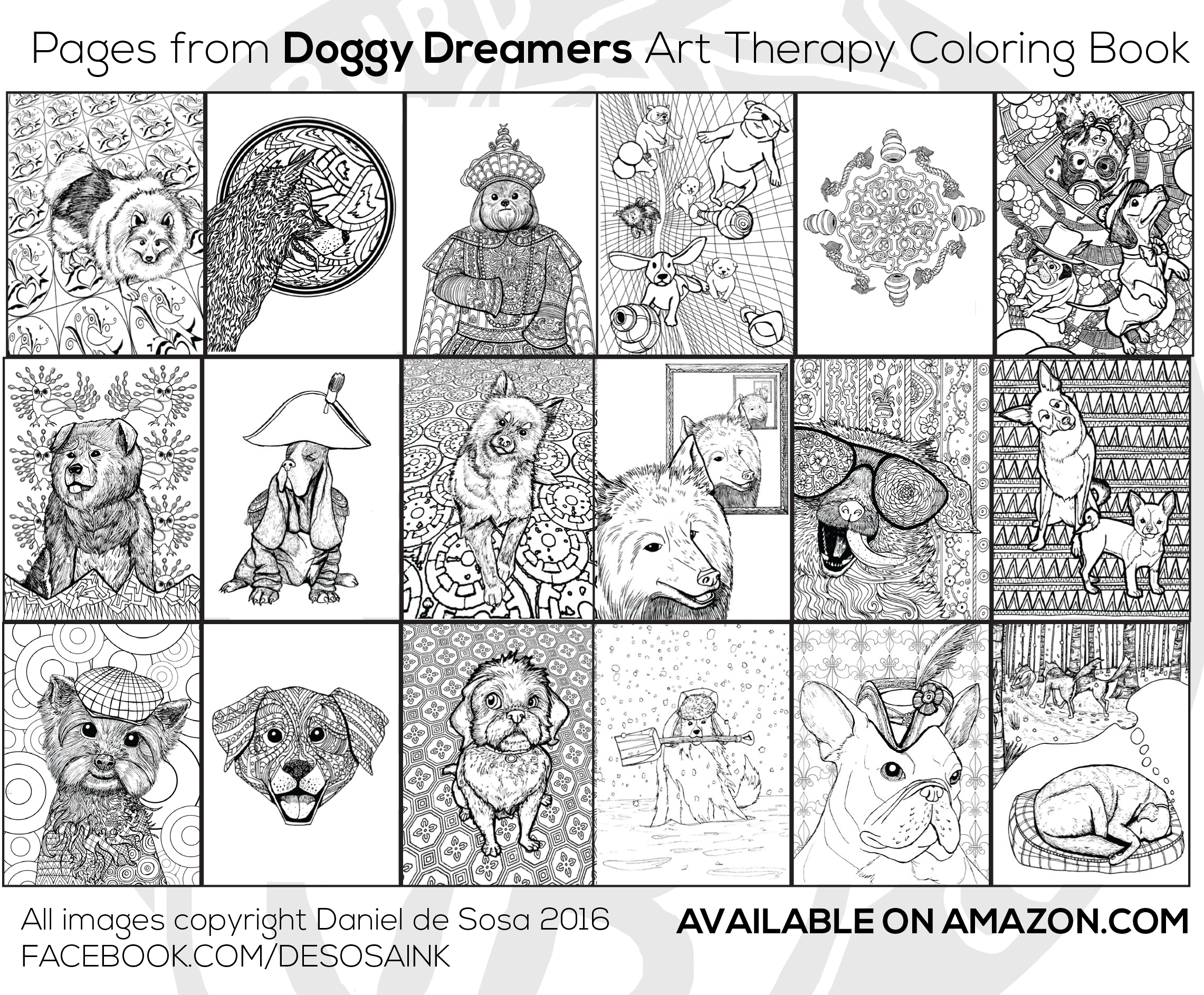 Doggy Dreamers Art Therapy Adult Coloring Book DREAM DELUXE EDITION